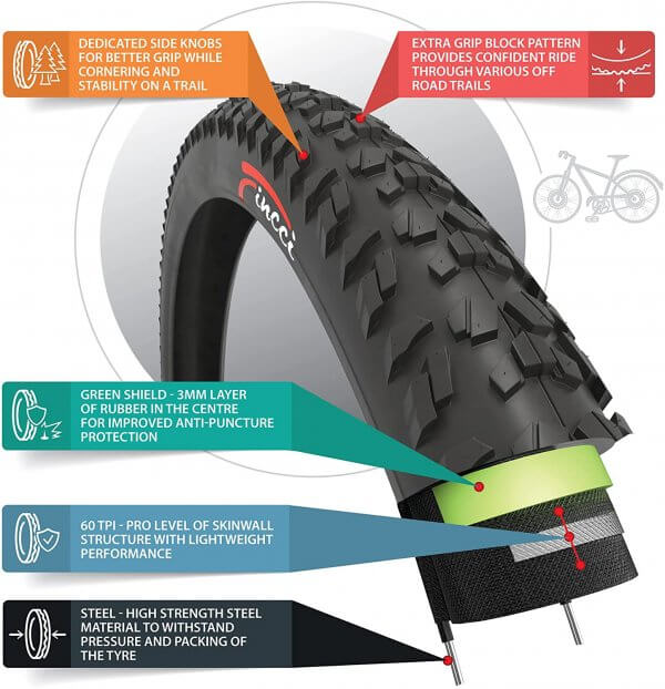 Fincci 26 x 1.95 50-559 MTB Tyre 60 TPI with Antipuncture Protection