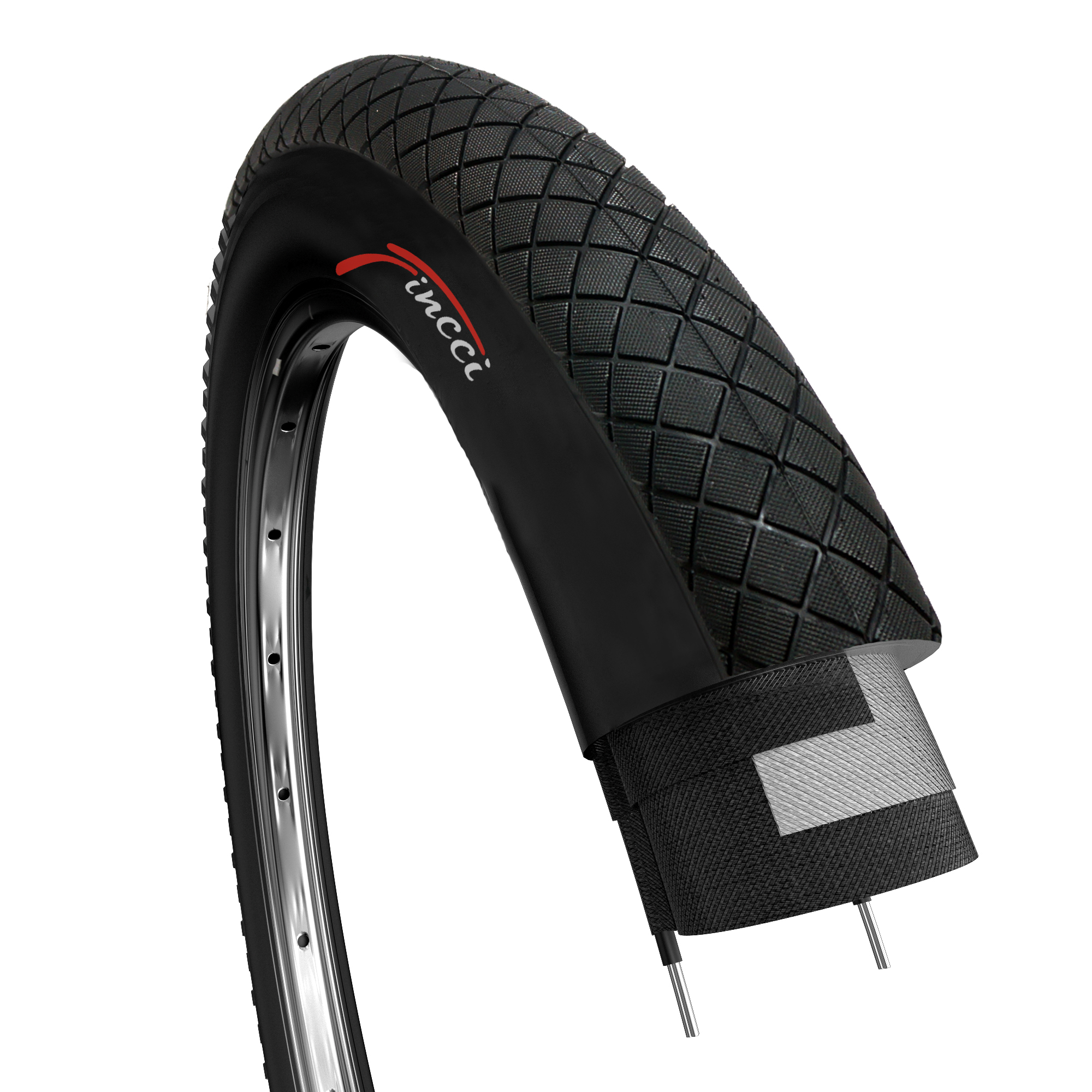 50-406 mtb bike black No 2 tire//tyre 20 x 1.95 no 2 rooms