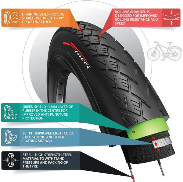 Fincci 700 x 32c 32-622 MTB Tyre with Antipuncture Protection